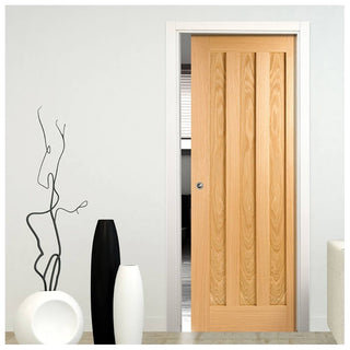 Image: Idaho Oak 3 Panel Single Evokit Pocket Door
