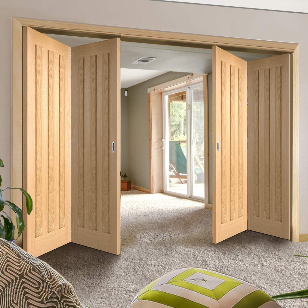 Four Folding Doors & Frame Kit - Idaho 3 Panel Oak 2+2 - Prefinished