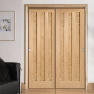 Image: Thruslide Idaho 3 Panel Oak 2 Sliding Doors and Frame Kit