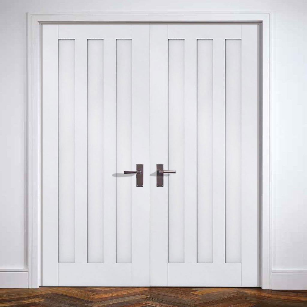 Idaho Panel Door Pair - White Primed