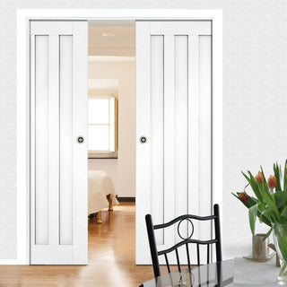 Image: Idaho Panel Double Evokit Pocket Doors - White Primed