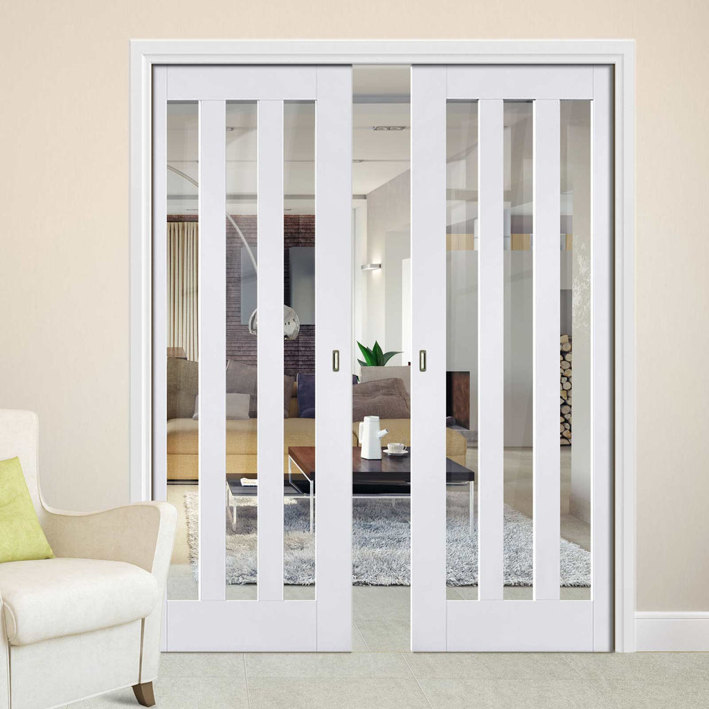 Utah Double Evokit Pocket Doors - Clear Glass - White Primed