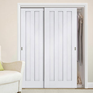 Image: Thruslide Idaho Panel 2 Door Wardrobe and Frame Kit - White Primed