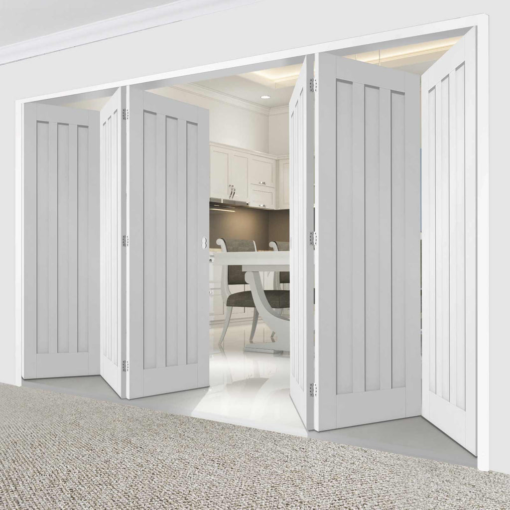 Six Folding Doors & Frame Kit - Idaho 3 Panel 3+3 - White Primed