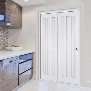 Image: ThruEasi Room Divider - Idaho 3 Panel White Primed Door with Single Side - 2018mm High - Multiple Widths