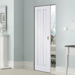 Image: Idaho Panel Absolute Evokit Single Pocket Doors - White Primed