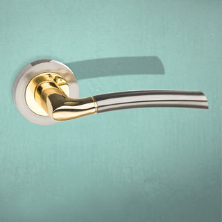 Image: Indiana Status Lever on Round Rose - Satin Nickel - Polished Brass