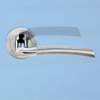 Image: Indiana Status Lever on Round Rose - Satin Chrome - Polished Chrome