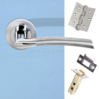 Image: Indiana Status Lever on Round Rose - Satin Chrome - Polished Chrome Handle Pack