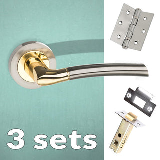 Image: Three Pack Indiana Status Lever on Round Rose - Satin Nickel - Polished Brass Handle