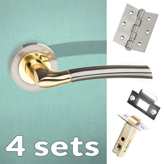 Image: Four Pack Indiana Status Lever on Round Rose - Satin Nickel - Polished Brass Handle