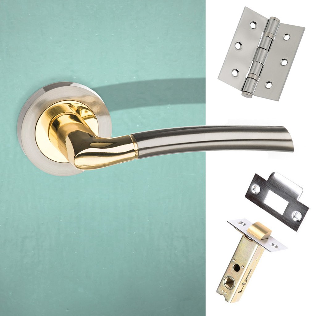 Indiana Status Lever on Round Rose - Satin Nickel - Polished Brass Handle Pack
