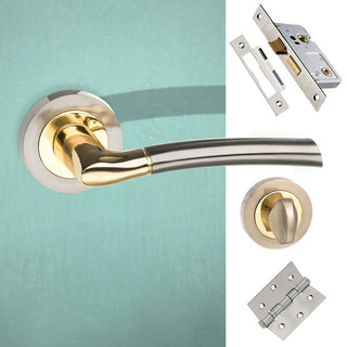 Image: Indiana Status Bathroom Lever on Round Rose - Satin Nickel - Polished Brass Handle Pack