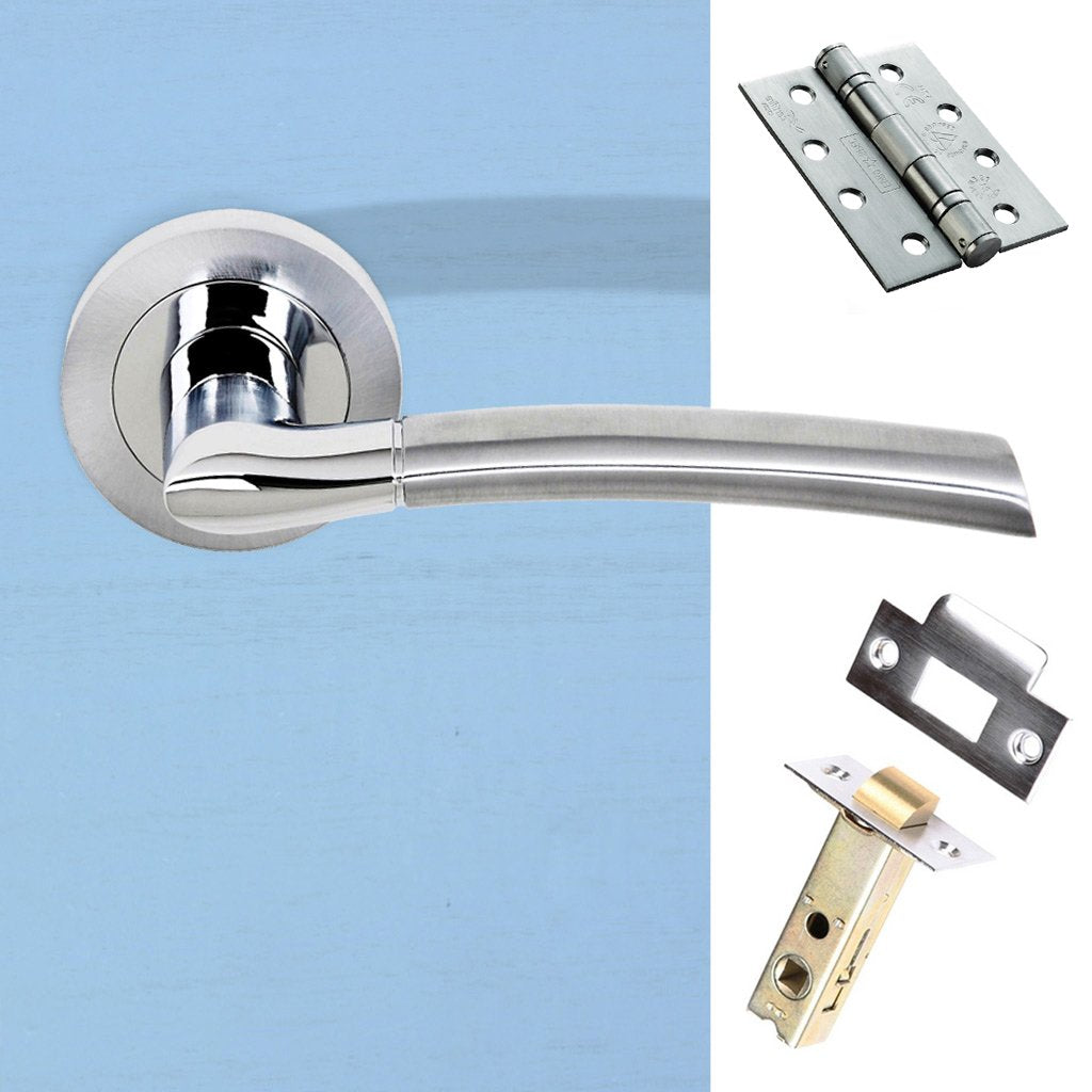 Indiana Status Fire Lever on Round Rose - Satin Chrome - Polished Chrome Handle Pack
