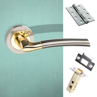 Image: Indiana Status Fire Lever on Round Rose - Satin Nickel - Polished Brass Handle Pack