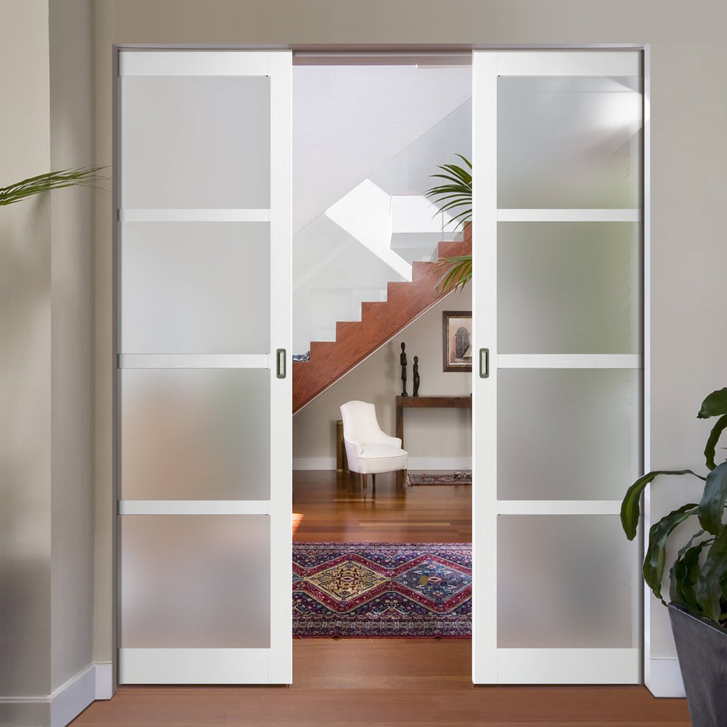 Bespoke Double Frameless Pocket Door WK6358 - Frosted Glass - 2 Prefinished Colour Choices