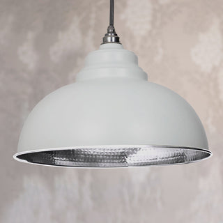 Image: Light Grey Hammered Nickel Harborne Pendant Ceiling Light Fitting