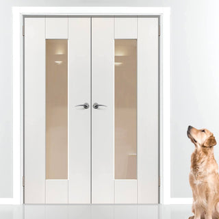 Image: J B Kind Axis White Primed Door Pair - Clear Glass