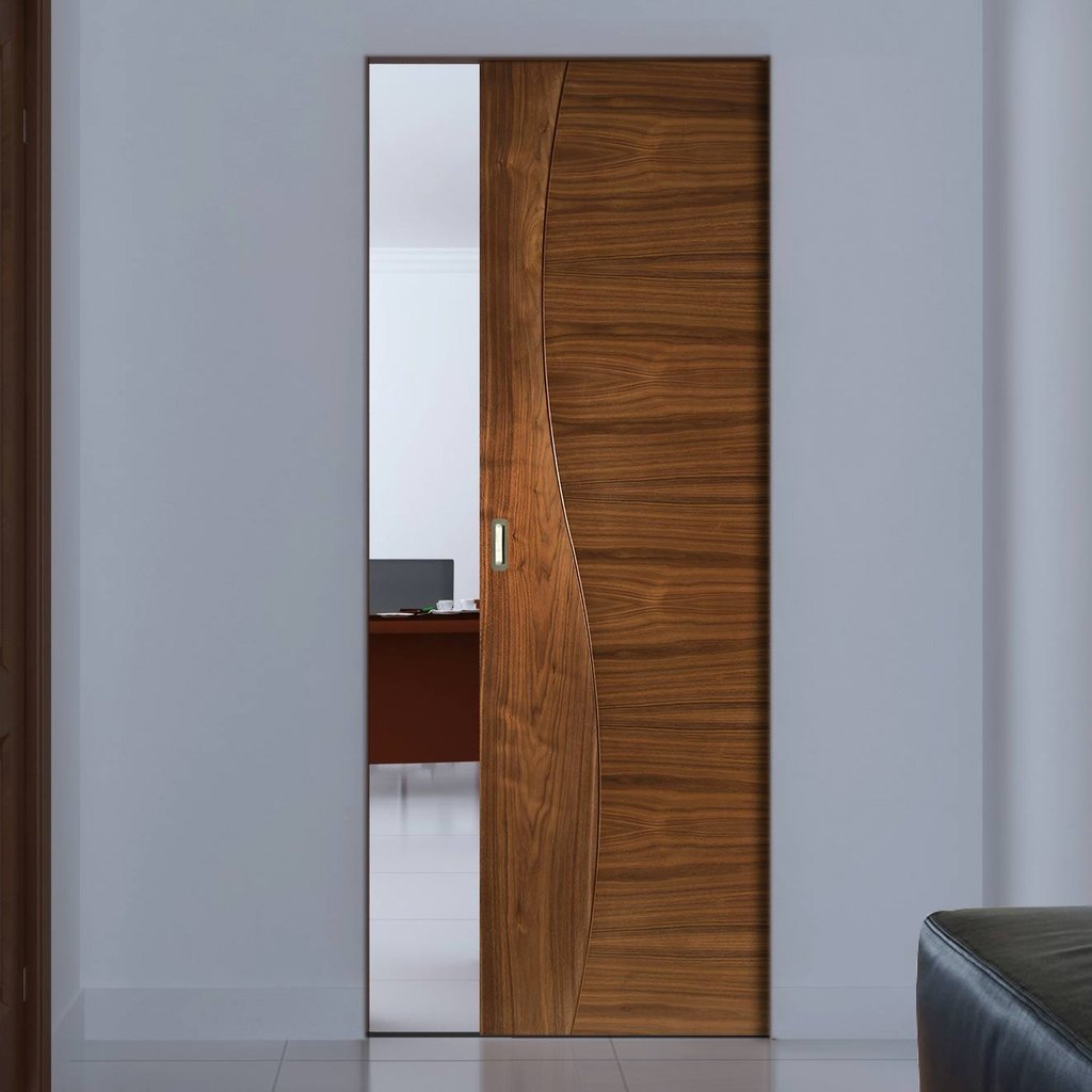 Contemporary Design Cadiz Walnut Absolute Evokit Single Pocket Door - Prefinished