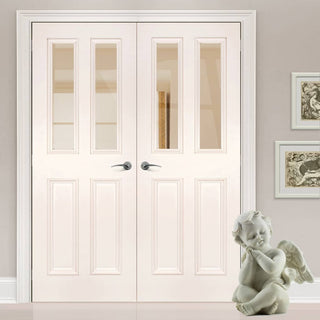 Image: Rochester Clear Glazed White Primed Door Pair