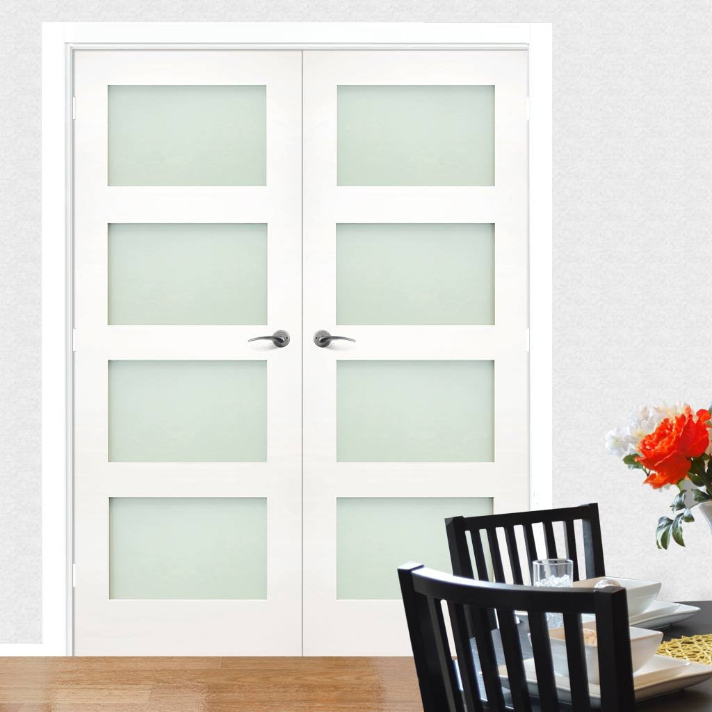 Coventry White Primed Shaker Door Pair - Frosted Glass
