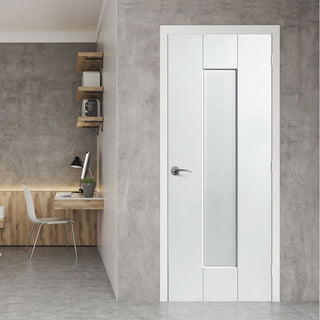 Image: JBK White Shaker Axis Ripple Primed Door - 1/2 Hour Fire Rated - Prefinished