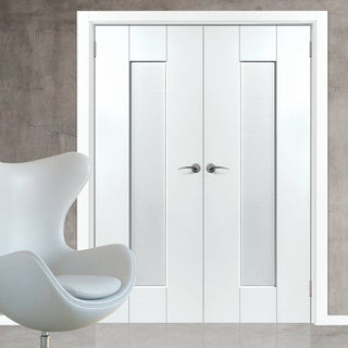 Image: J B Kind Axis Ripple White Primed Door Pair