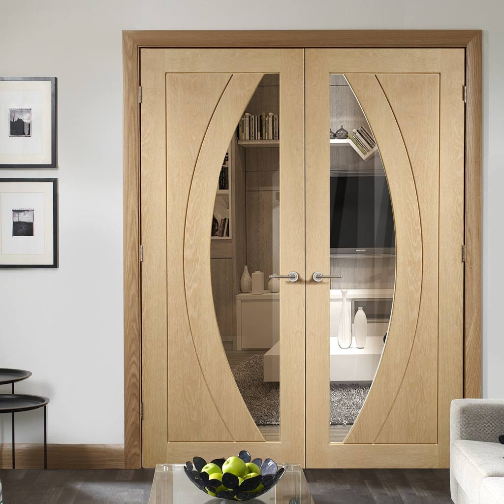 Bespoke Salerno Oak Glazed Door Pair - Prefinished