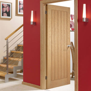 Image: Bespoke Mexicano Oak Door - Vertical Lining