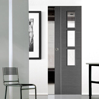 Image: Chocolate Grey Alcaraz Absolute Evokit Single Pocket Doors - Clear Glass - Prefinished