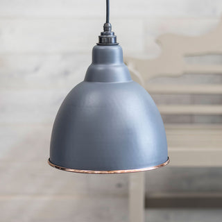 Image: Dark Grey Hammered Copper Brindley Pendant Ceiling Light Fitting