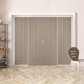 Image: ThruEasi Room Divider - Belize Light Grey Prefinished Double Doors with Double Sides - 2018mm High - Multiple Widths