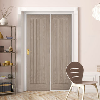 Image: ThruEasi Room Divider - Belize Light Grey Prefinished Door with Single Side - 2018mm High - Multiple Widths