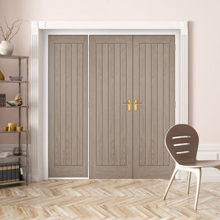Image: ThruEasi Room Divider - Belize Light Grey Prefinished Double Doors with Single Side - 2018mm High - Multiple Widths