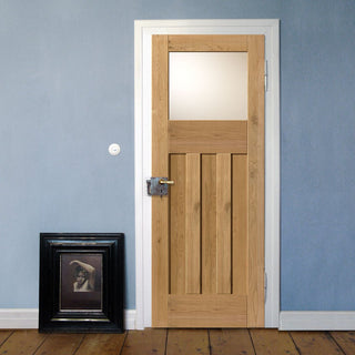 Image: Rustic Oak 1930 DX Shaker Prefinished Door With Obscure Safety Glass