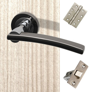 Image: Sirus Door Handle Pack - Polished Chrome - Black Chrome
