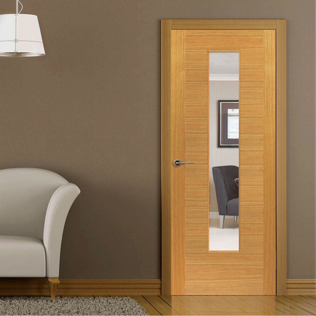 Brisa Ostria Flush Oak Veneered Door - Clear Glass - Prefinished