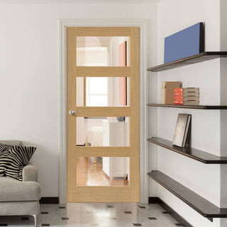 Image: Montana Nevis Oak Door - Clear Glass