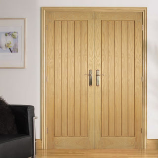 Image: Bespoke Mexicano Oak Door Pair - Vertical Lining