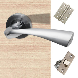 Image: Pluto Door Handle Pack - Polished Chrome - Satin Chrome