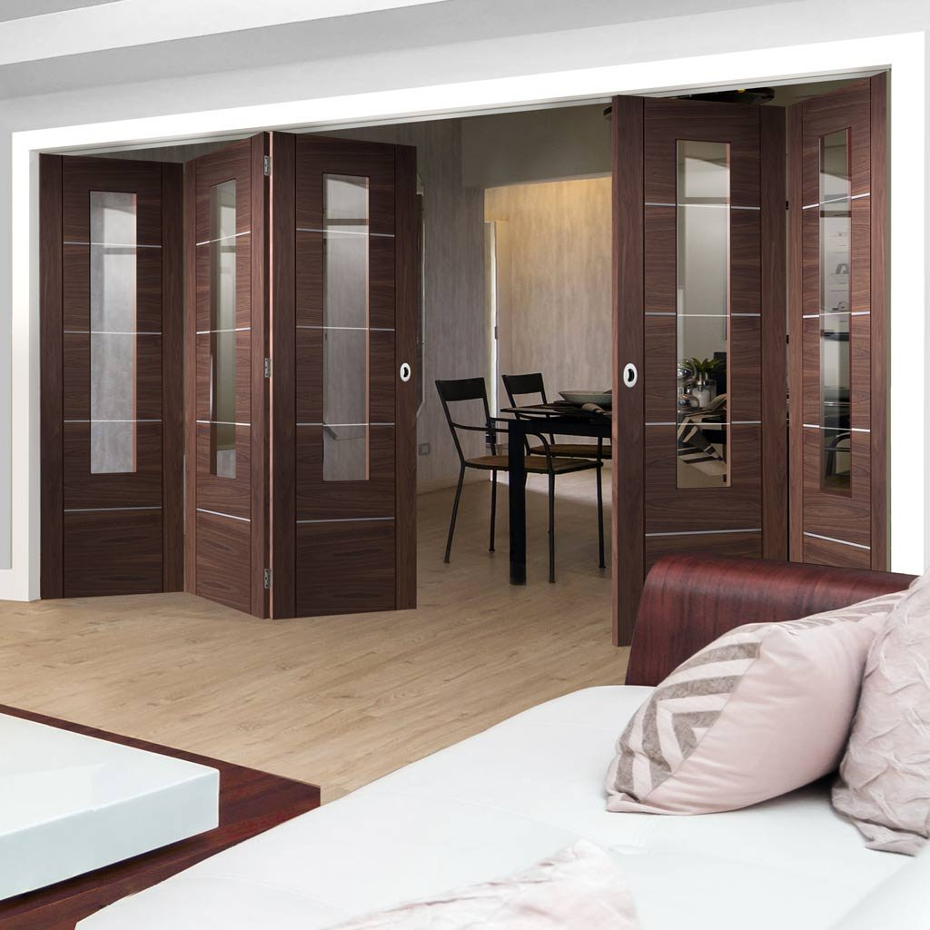 Bespoke Thrufold Portici Walnut Glazed Folding 3+2 Door - Aluminium Inlay - Prefinished