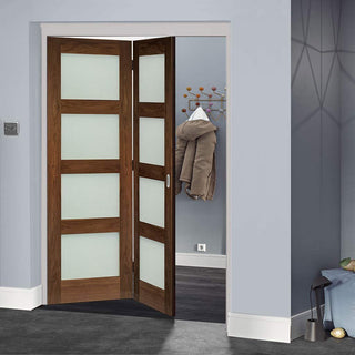 Image: Thrufold Coventry Walnut Shaker 2+0 Folding Door - Frosted Glass - Prefinished