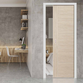 Image: Laminates Ivory Painted Single Evokit Pocket Door - Prefinished