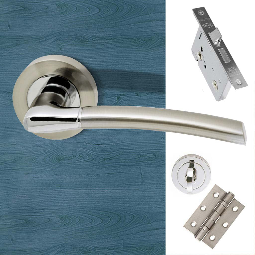 Mercury Bathroom Door Handle Pack - Polished Chrome - Satin Nickel