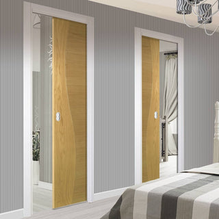 Image: Cadiz Real American White Oak Crown Cut Veneer Unico Evo Pocket Doors - Prefinished