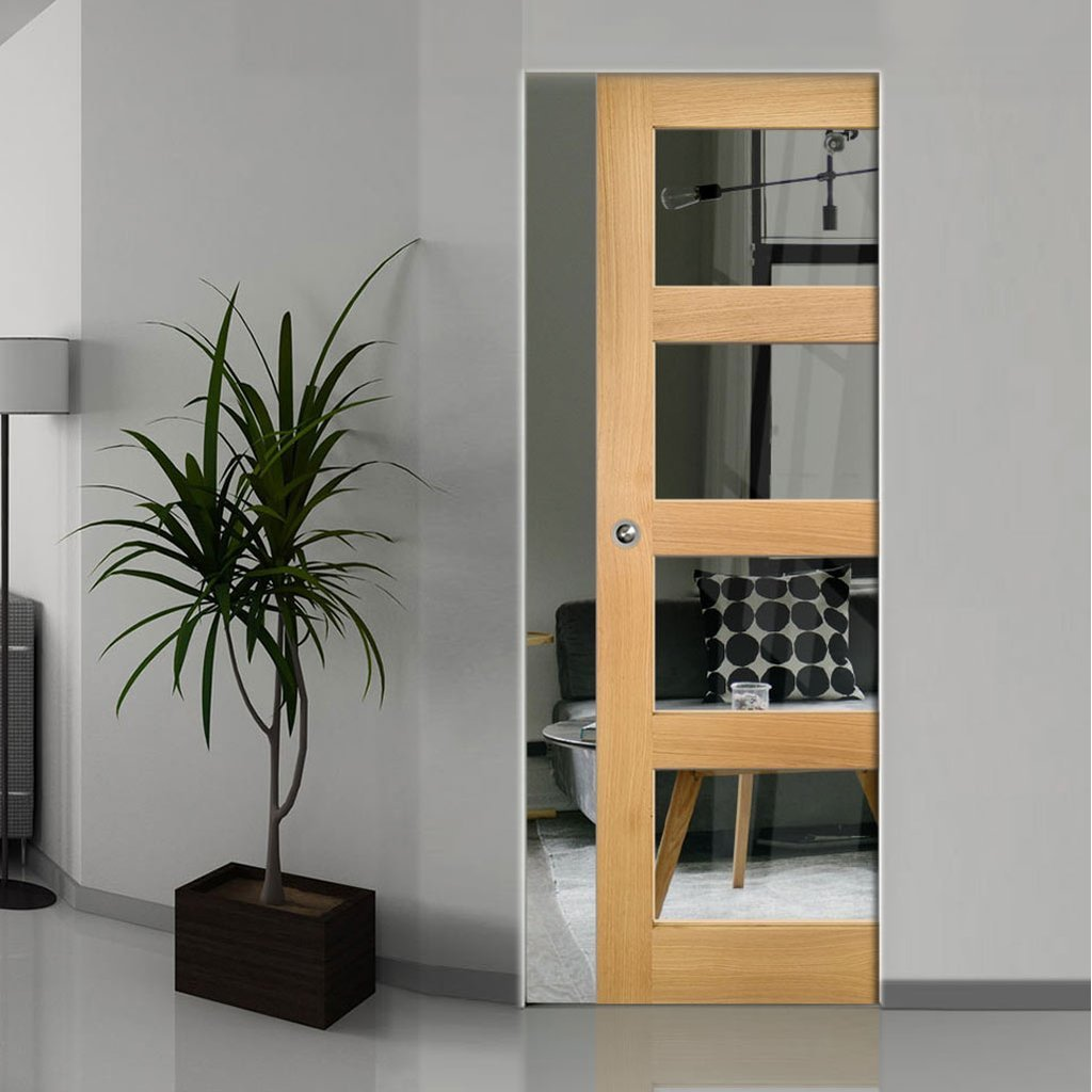 Coventry Shaker Style Oak Absolute Evokit Single Pocket Door - Clear Glass - Unfinished