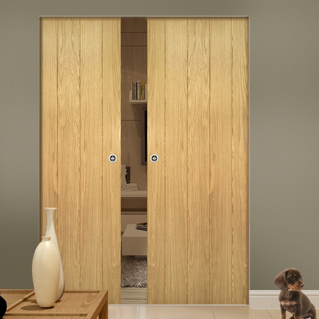 Galway Oak Absolute Evokit Double Pocket Doors - Unfinished