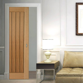 Image: Mexicano Oak Evokit Pocket Fire Door - Vertical Lining - 30 Minute Fire Rated