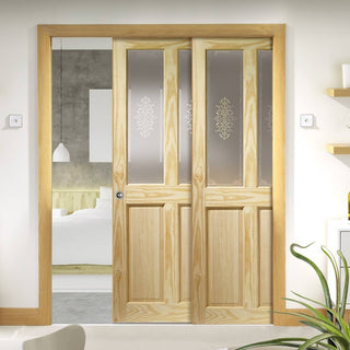 Image: Victorian 2P & 2L Clear Pine Staffetta Twin Telescopic Pocket Doors - Campion Clear Etch Glass