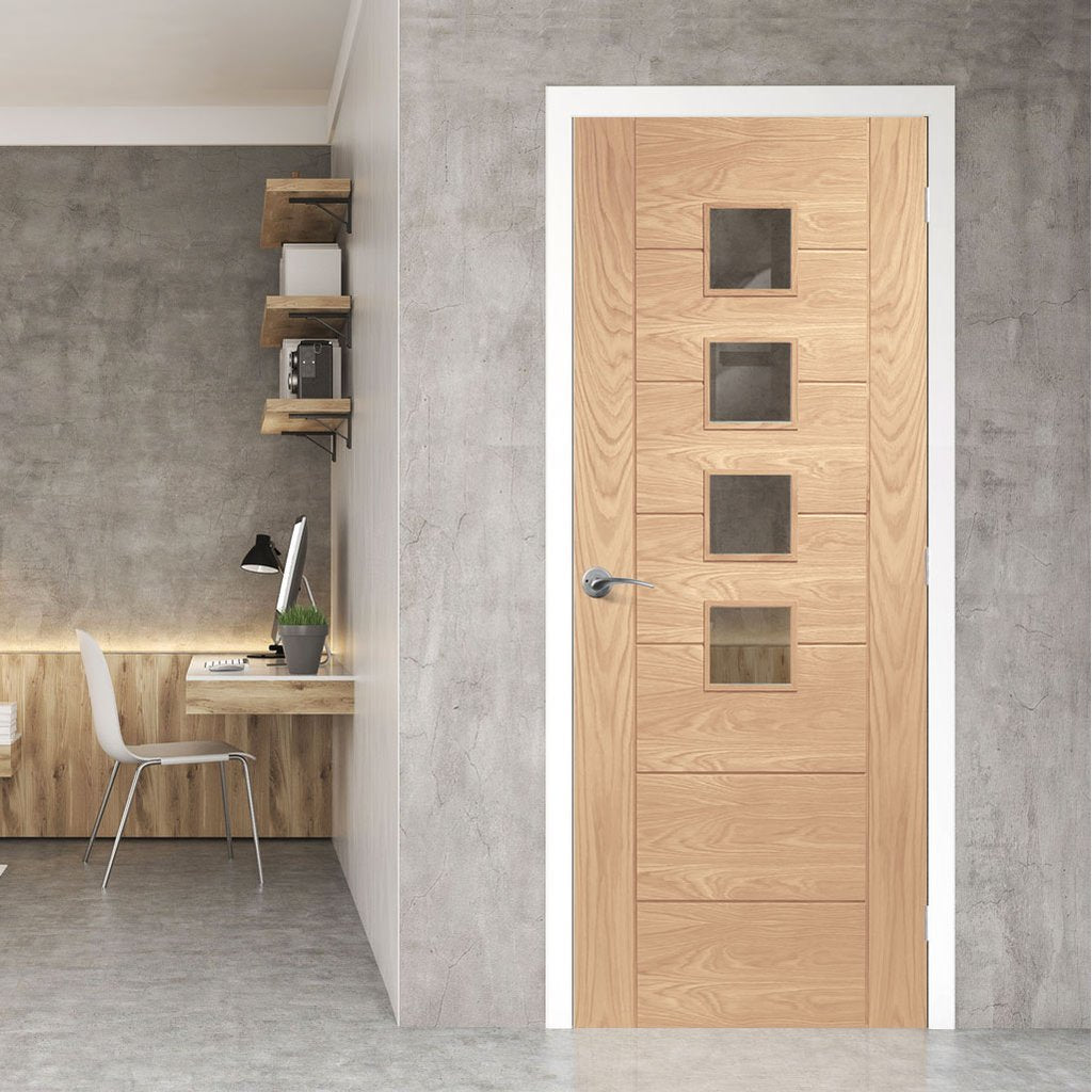 Palermo modern oak veneer glazed interior door